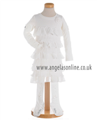 S&D Le Chic Girls Off White Ruffle Dress with Tights 23085743