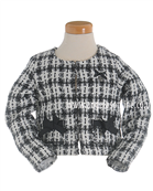 S&D Le Chic Girls Ivory & Black Tweed Jacket 23085845