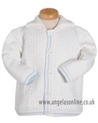 Pretty Originals Baby Boys Cream/Blue Knitted Jacket JP64134