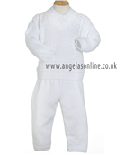 Pretty Originals Baby Boys 3 piece White Knitted Outfit JP64080