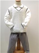 Pretty Originals Baby Boys Cream/Grey 3 Piece Set JP65400