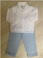 Pretty Originals Baby Boys White/Blue 3 Piece Set BB5135