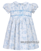 Sarah Louise Girls Dress 9284 White/Blue