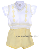Pretty Originals Boys 3 Pce Set D7804 White/Lemon