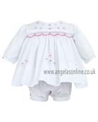 Sarah Louise Girls Baby Dress & Panty 9461 White