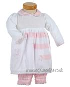 Pretty Original Baby Girls Knitted White/Pink Dress JP99230 PK/WH