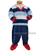 Tutto Piccolo Baby Boys Red & Navy Velour 2 Pce 6295