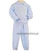 Pretty Originals Boys Knitted Jumper & Trouser JP95180 Blue/White