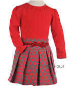 Sarah Louise Girls  Red Bow Top & Spotty Skirt 9571/9581 Red