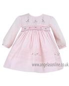 Sarah Louise Baby/Toddler Girls Pink/White Dress 9475