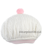 Pretty Originals Girl Cream/Pink Knitted Beret Hat JP92380