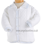 Pretty Originals Baby Boys Knitted Winter White/Blue Jacket JP95120