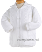 Pretty Originals Baby Boys Knitted Winter All White Jacket JP95120