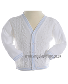 Pretty Originals Boys Knitted White/Pale Blue Cardigan JP95090