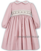 Sarah Louise Girls Traditional Long Sleeve Pink/Brown Dress 9589