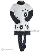 Boboli Girls Jumper Dress, High Collared Top & Tights 705136