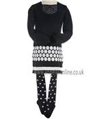 Boboli Girls Navy/White Spotty Winter Dress and Spotty Tights 721134