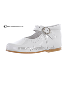 Andanines Girls Diamonte Buckle White Patent Leather Shoe A71032