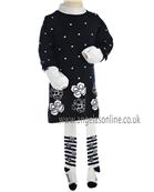Boboli Girls Navy Jumper Dress, High Collared Top & Tights 703011