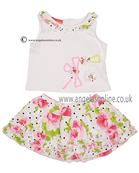 Kate Mack Girls Top & Skirt 629LBA WH/PK