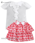 Sarah Louise GirlsTop & Skirt 9802/9801 Red