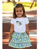 Sarah Louise Girls T-shirt & Skirt 9883/9884 WH/NY/GR