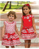 Sarah Louise Girls Red T Shirt & Red Ruffle Rara Skirt 9815/9816