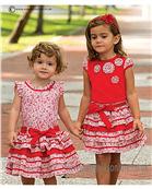 Sarah Louise Girls Red T Shirt & Red Ruffle Rara Skirt 9815/9816