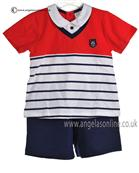 Tutto Piccolo Baby Boys Red/Navy T Shirt & Short Set 7593