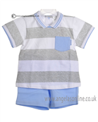 Tutto Piccolo Boys Blue and Grey Polo & Short 7585
