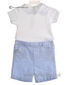 Laranjinha Baby Boys Sky Blue and White 2 Piece 5214/5303