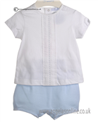 Laranjinha Baby Boy Pale Blue and White 2 Piece 5116