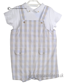 Laranjinha Baby Boys Beige and Blue 2 Piece Outfit 5263