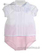Laranjinha Baby Girls Pink and White 2 Piece Outfit 5112