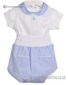 Laranjhina Baby Boys Blue and White 2 piece V4055
