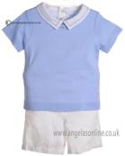 Laranjinha Baby Boys Pale Blue T Shirt Body & White Shorts 5260/5303