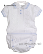 Pretty Originals Baby Boys White and Blue Top & Jam Pants JP82180E