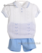 Pretty Originals Baby Boys Blue and White Top & Shorts JP82185E