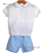 Pretty Originals Baby Boys White and Blue Top & Shorts JP83185E