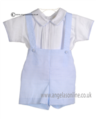 Pretty Originals Baby Boys Blue and White Shirt Dungaree & Cap DL61534