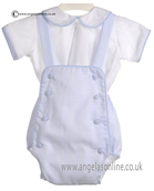 Pretty Originals Baby Boys Blue and White Romper MB20117