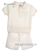 Pretty Originals Baby Boys Cream Top & Shorts JP86185