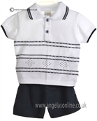 Pretty Originals Baby Boys White and Navy Top & Shorts JP85185
