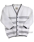 Pretty Originals Baby Boys White and Navy Cardigan JP85090