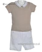 Laranjinha Baby Boys Beige T Shirt Body & White Shorts 5260/5303