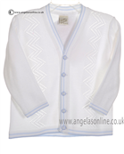 Pretty Originals Baby Boys White and Blue Cardigan JP84090E