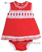 Pretty Originals Baby Girls Red and White Dress MB10202