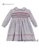 Sarah Louise Ivory Red Blue Floral Print Girls Dress 10115