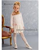 Kate Mack Girls Blush Pink Lace Puffball Pearl Dress 160ANA