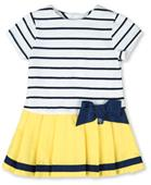 Tutto Piccolo  Navy and Yellow Stripe Baby Girls Dress 9248